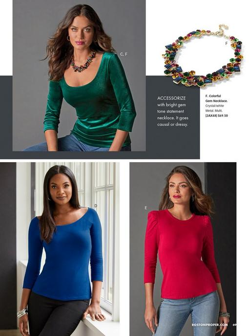 top model wearing a green velvet scoop neck three-quarter sleeve top, jeans, and a colorful jeweled necklace. right image is of the colorful jewel necklace. bottom left model: blue scoop neck three-quarter sleeve top and black pants. bottom right model: red puff-sleeve long sleeve top and silver embellished jeans.