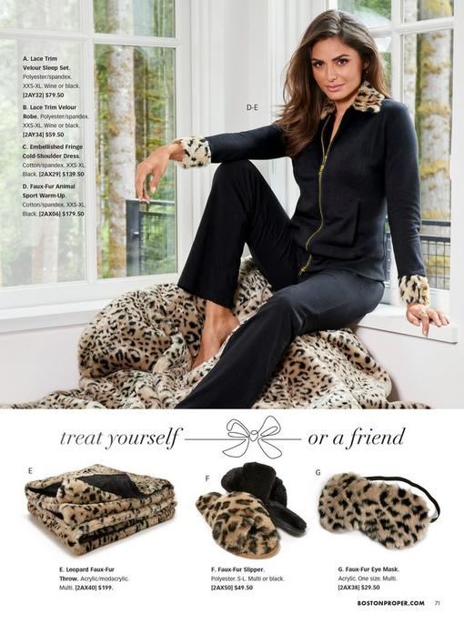 model wearing a black faux fur animal print sport warm-up and sitting on a leopard print blanket. bottom pull-out images: leopard faux fur throw, leopard faux-fur slippers, leopard faux-fur eye mask.