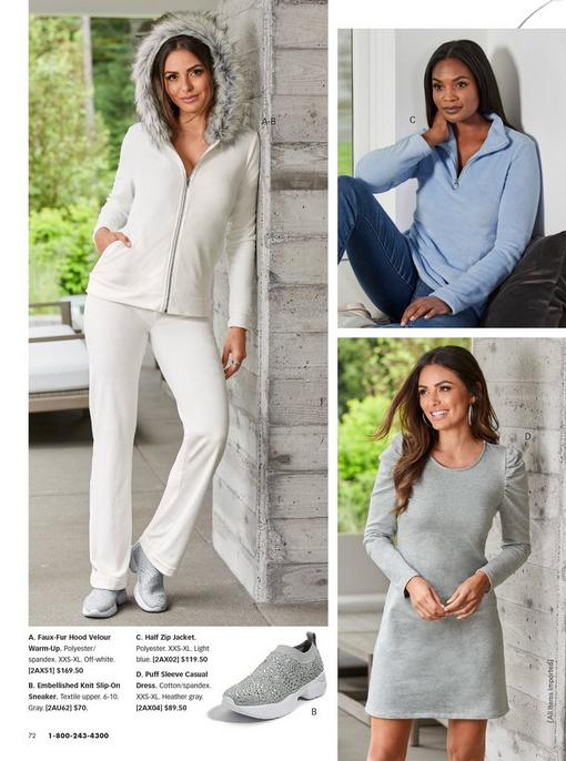 left model wearing a white warm-up with a faux fur lined hood and rhinestone embellished silver knit slip-on sneakers. top right model wearing a light blue quarter-zip sweater and jeans. bottom right model wearing a gray puff-sleeve long-sleeve dress.