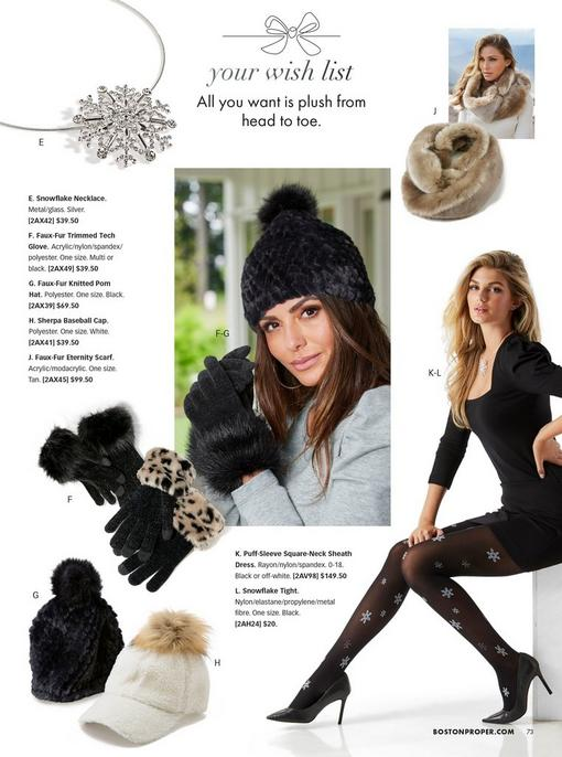 top left: rhinestone snowflake choker necklace. top right: beige faux-fur infinity scarf. bottom left: black faux-fur knitted pom hat, white sherpa and faux fur baseball cap, black gloves with black faux fur cuffs, and black gloves with leopard faux fur cuffs. middle model wearing a black pom beanie and black faux fur gloves. right model wearing a black puff-sleeve sheath dress, rhinestone studded snowflake tights, black pumps, and silver rhinestone snowflake choker necklace.