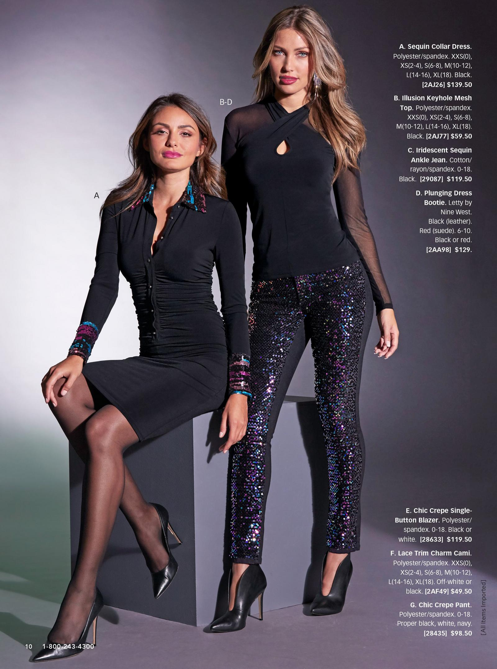 left: sequin collar and cuff black ruched dress. right: illusion keyhole mesh top in black and iridescent sequin ankle jean in black