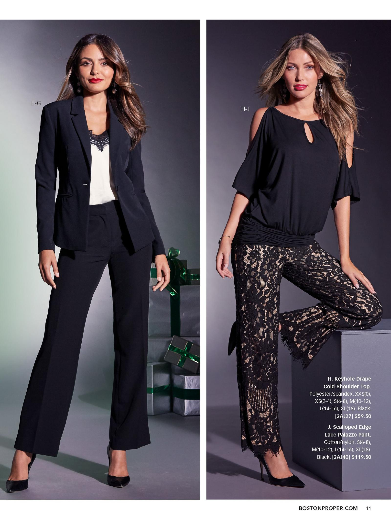 left: black single button blazer over a lace trim charm cami and black chic crepe pant. right: black keyhole drape cold-shoulder top and black scalloped edge lace palazzo pant.