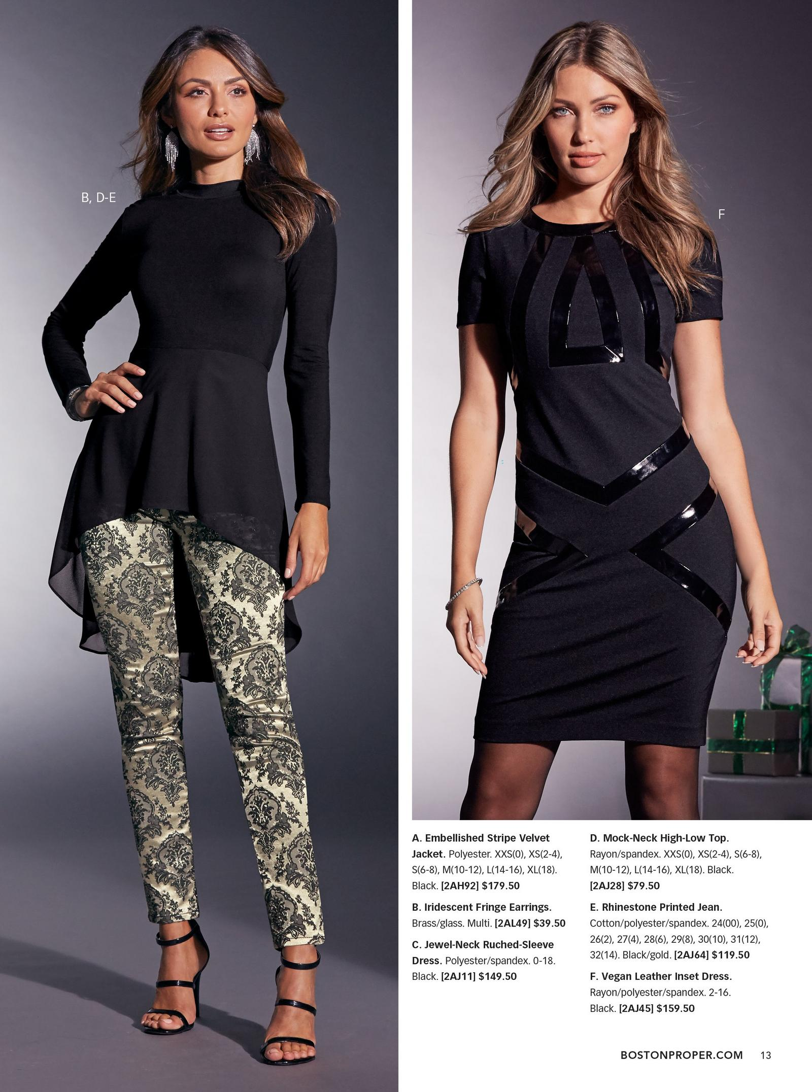 left: mock-neck high-low top in black over black and gold rhinestone printed jeans. right: black vegan leather inset dress.
