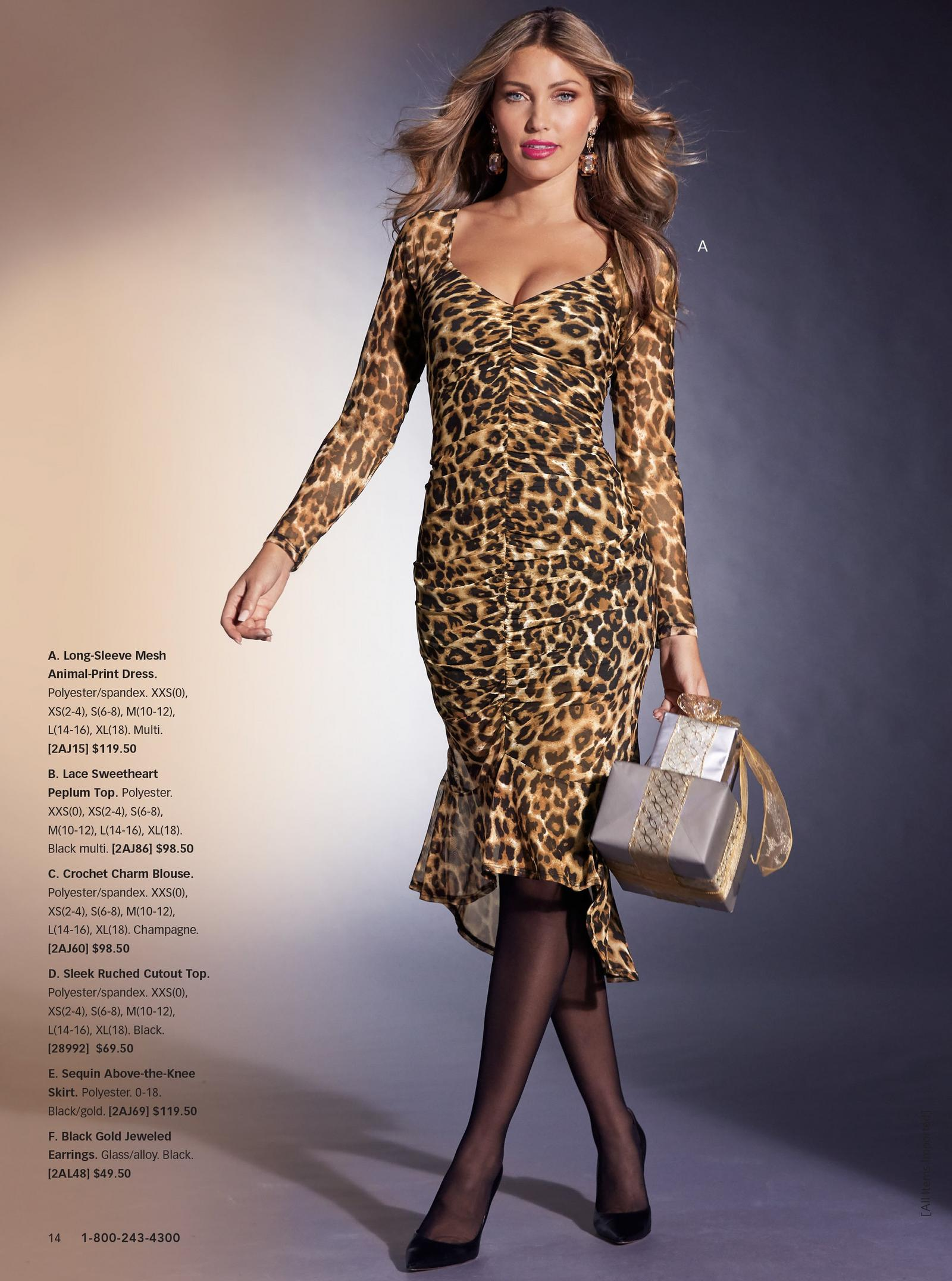 model wearing long-sleeve mesh animal-print dress while holding a wrapped gift.
