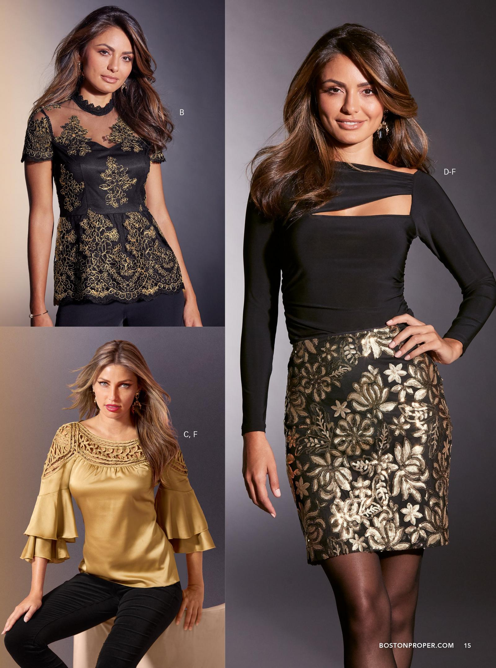 top left: black and gold lace sweetheart peplum top. bottom left: gold crochet charm blouse. right: black ruched cutout top with black and gold sequin skirt.