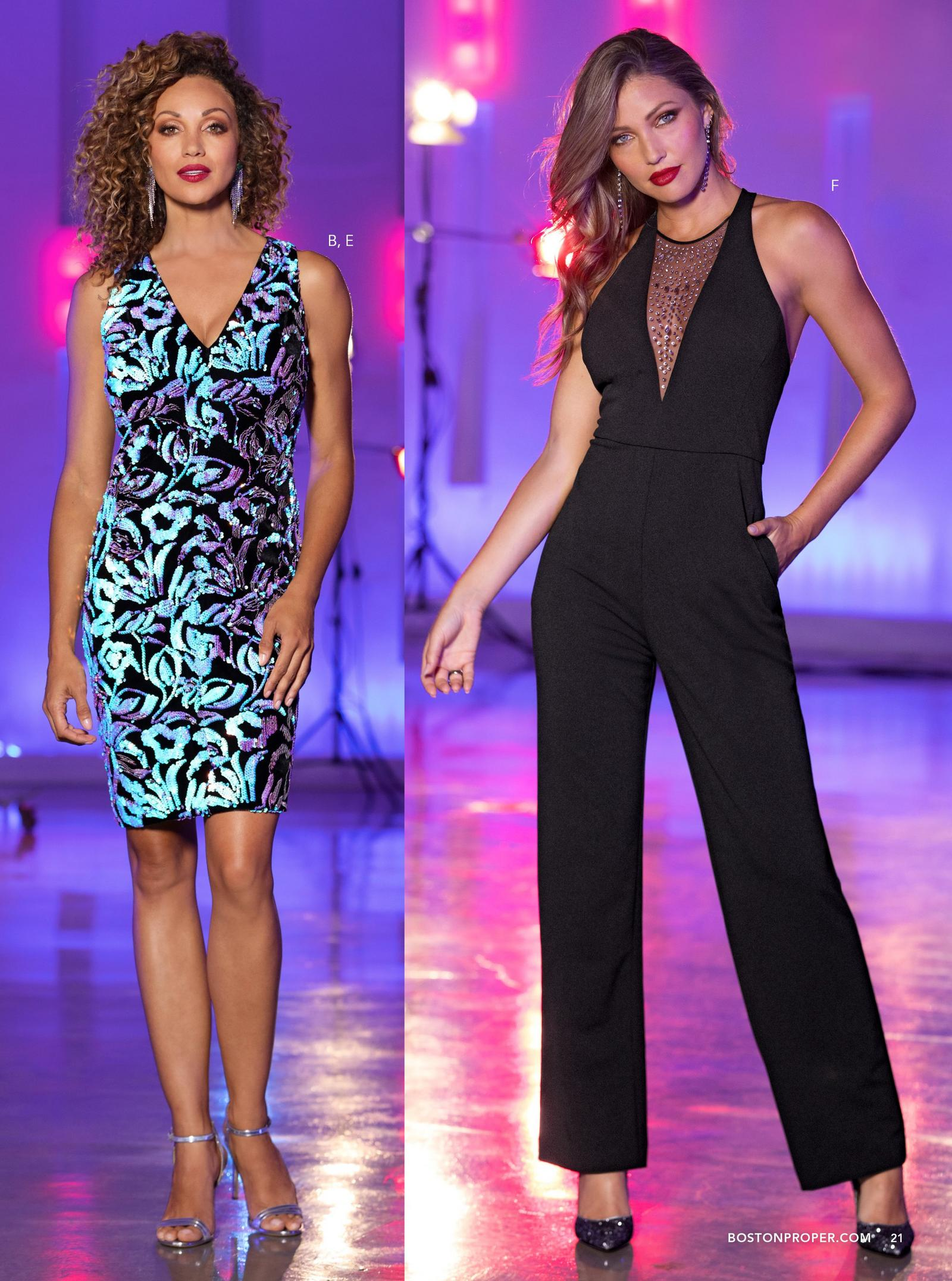 left model wearing iridescent sequin dress. right model wearing black jumpsuit with mesh jeweled inset.