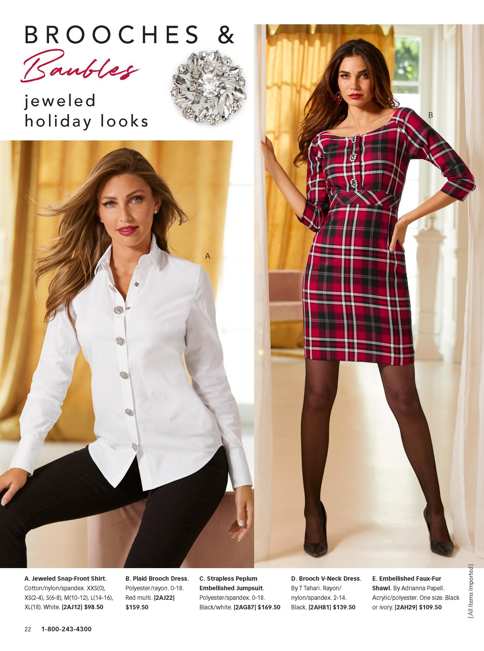 left model wearing jeweled snap-front shirt in white. right model wearing plaid brooch dress.