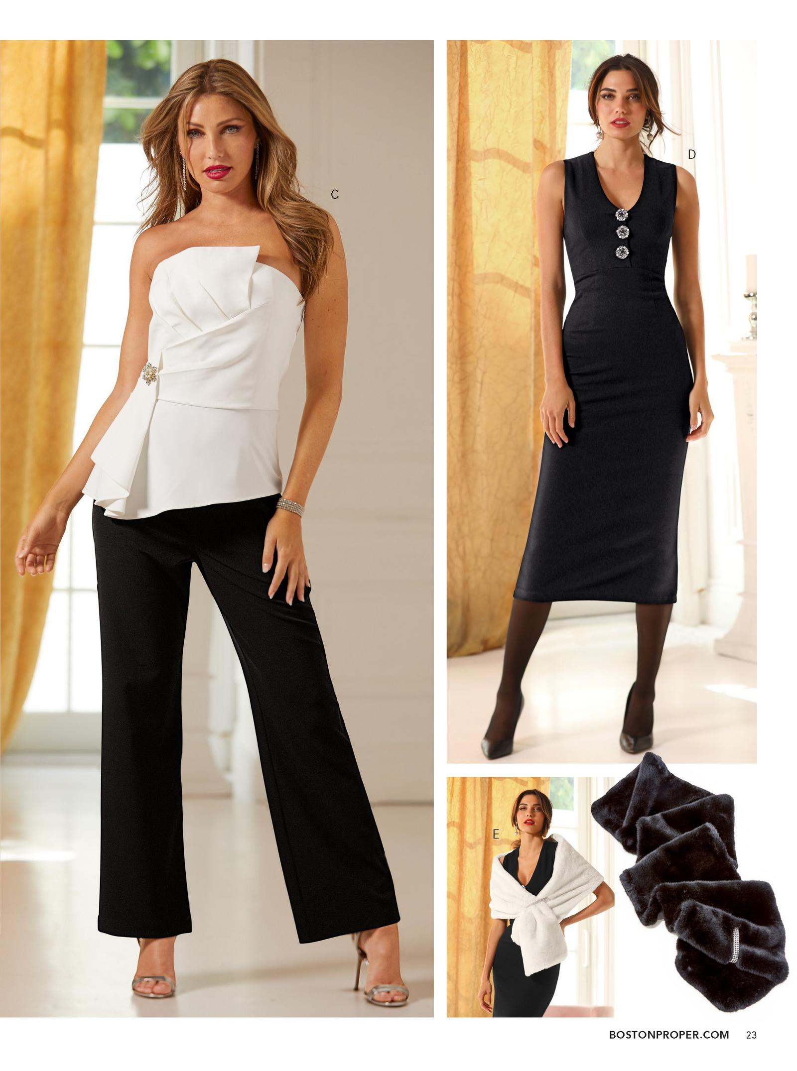 model wearing black and white sleeveless jumpsuit. right model wearing a black v-neck dress with brooch buttons.