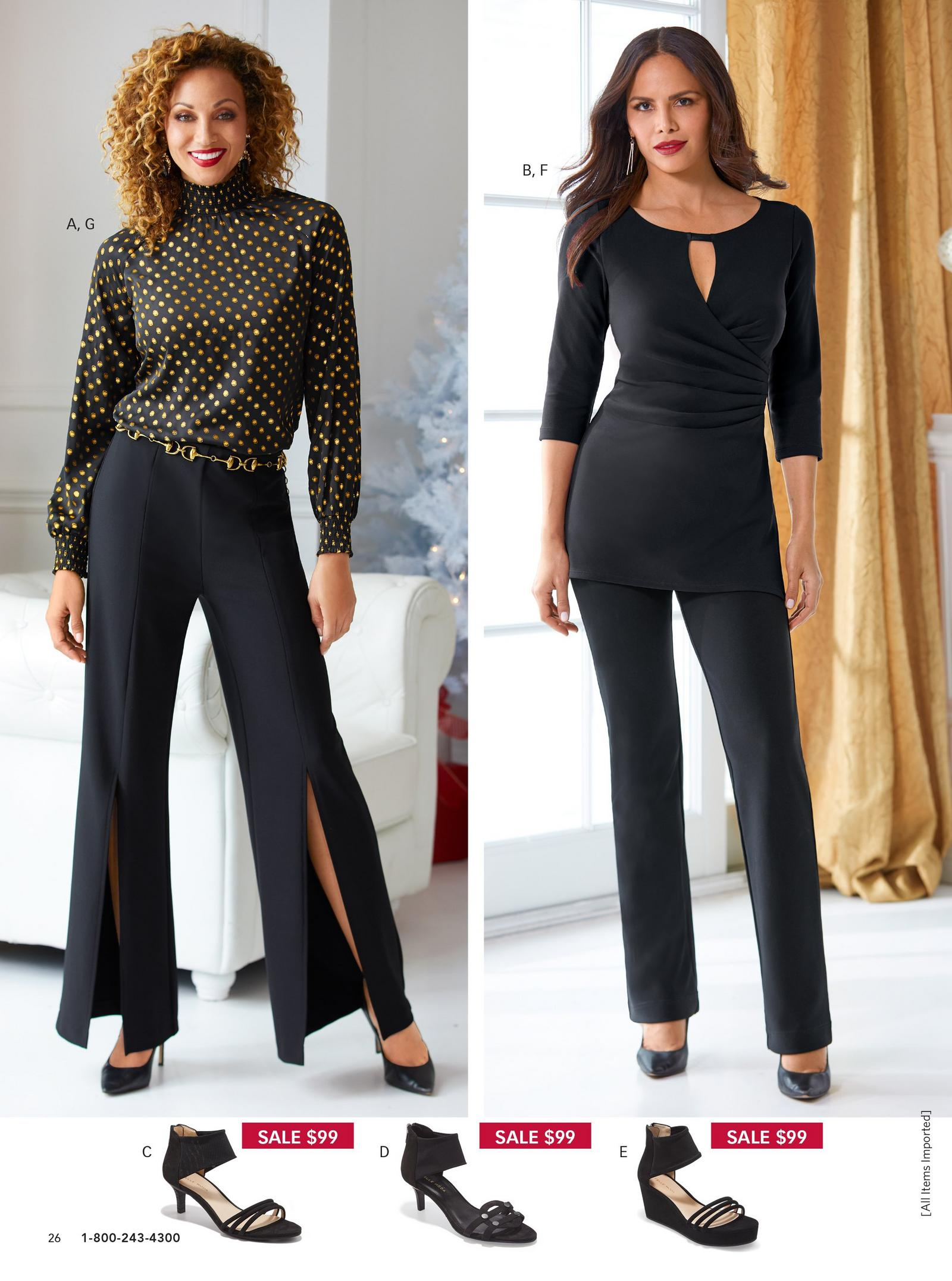 left model wearing high neck black top with gold dots and black high-waist pants. right model wearing black keyhole top with black pants.