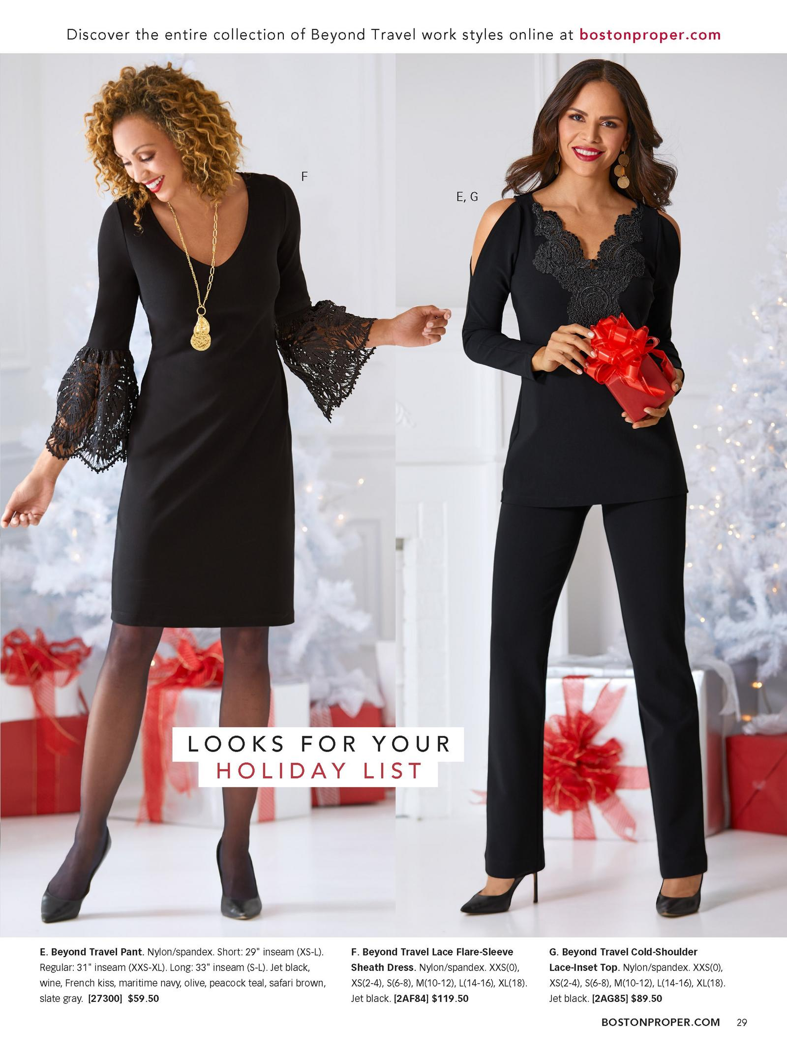 left model: black lace flare-sleeve sheath dress. right model: black cold-shoulder lace top and black pants.