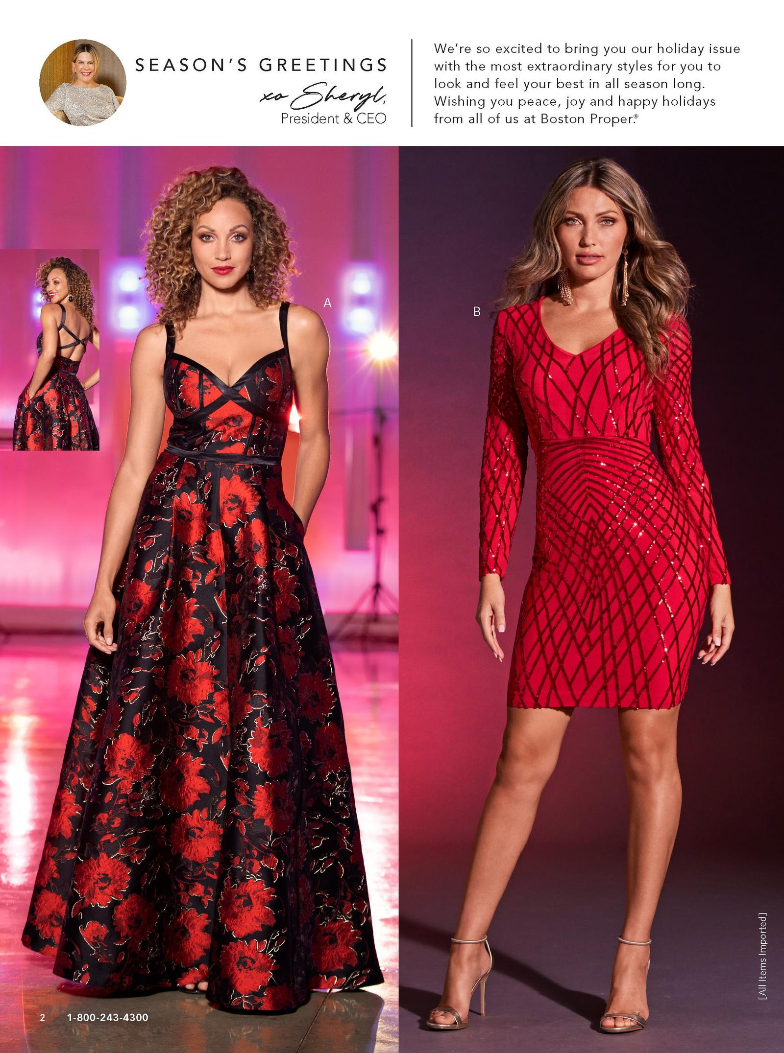 left: red and black floral ball gown. right:long-sleeve v-neck sequin dress in red.