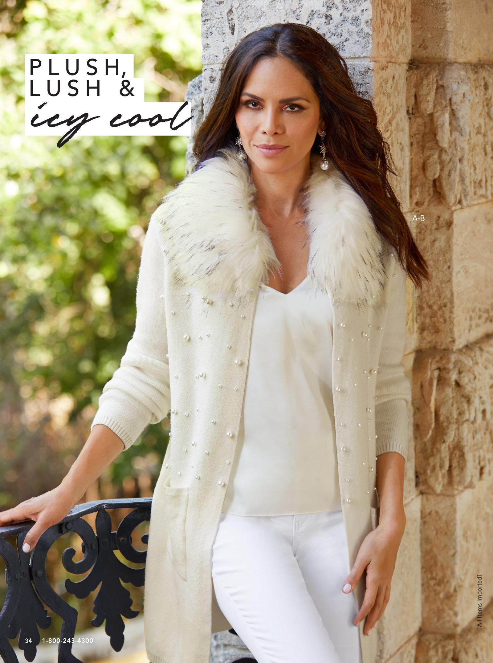 model wearing pearl studded faux fur cardigan in cream over white tank top and white jeans.