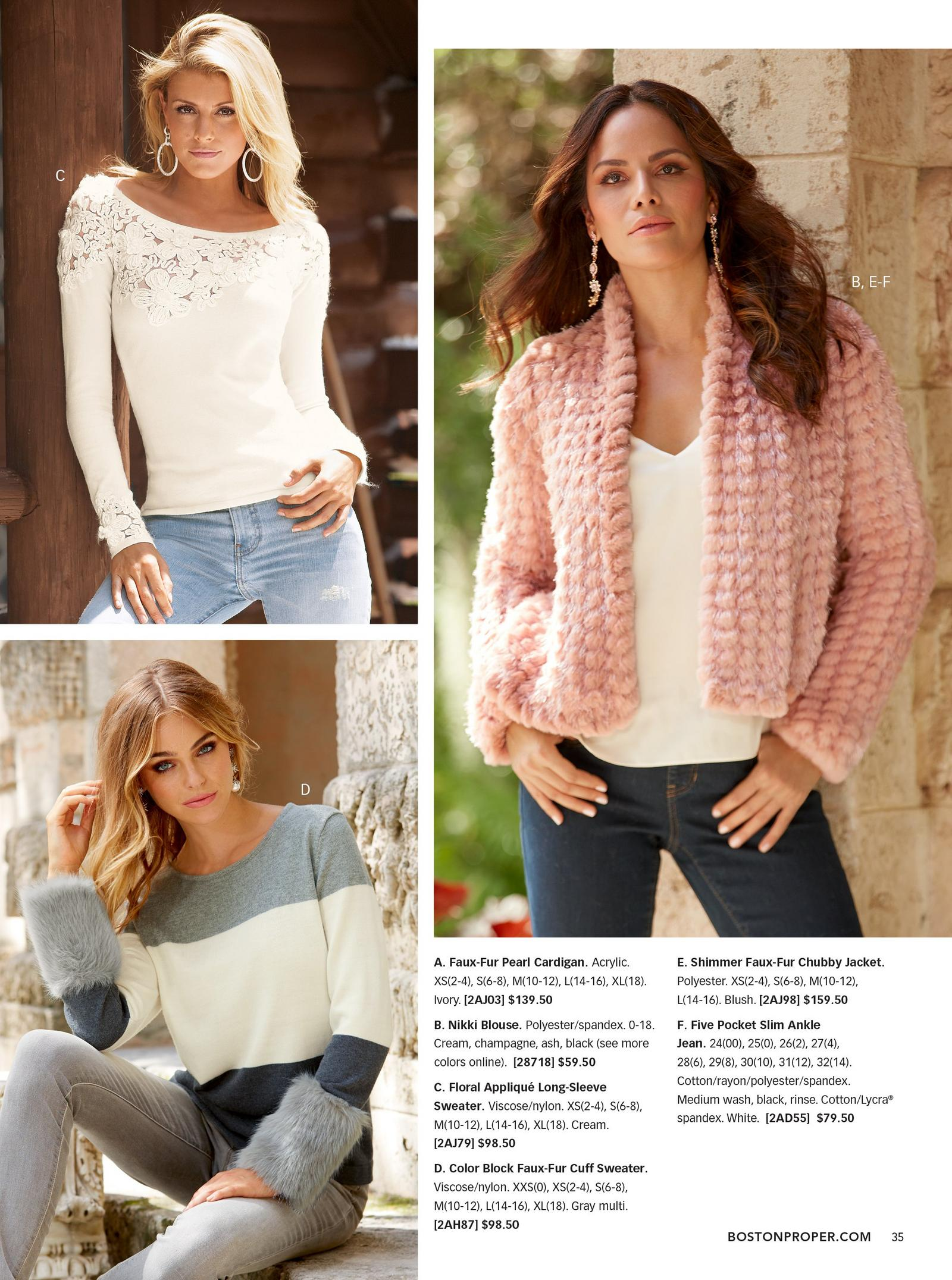 top left: model wearing cream floral sweater. bottom left: model wearing color block faux-fur cuff sweater. right: model wearing pink shimmer faux-fur chubby jacket over white tank top.
