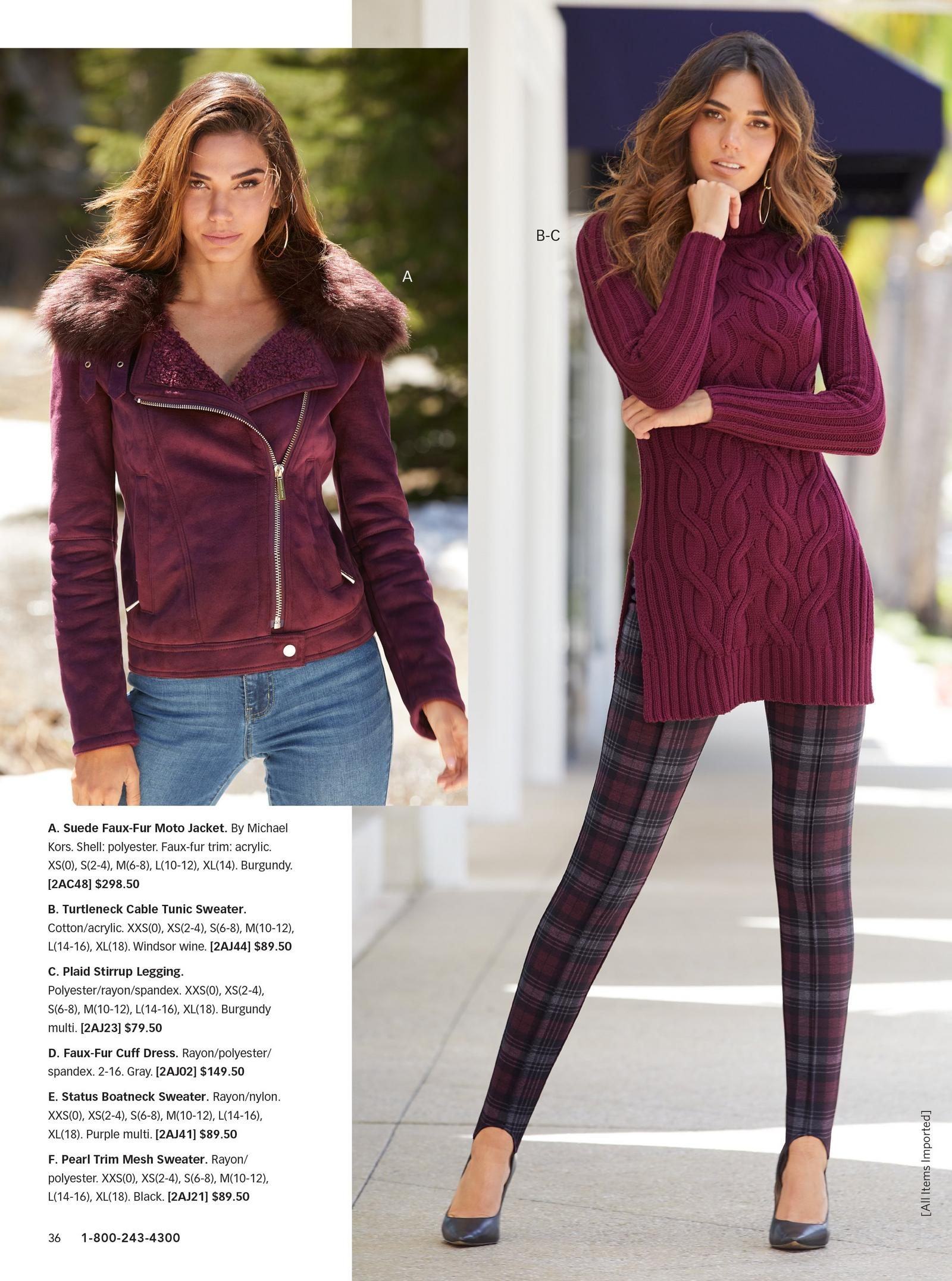 left: model wearing suede faux-fur moto jacket in burgundy. right: model wearing wine tunic sweater with plaid leggings.