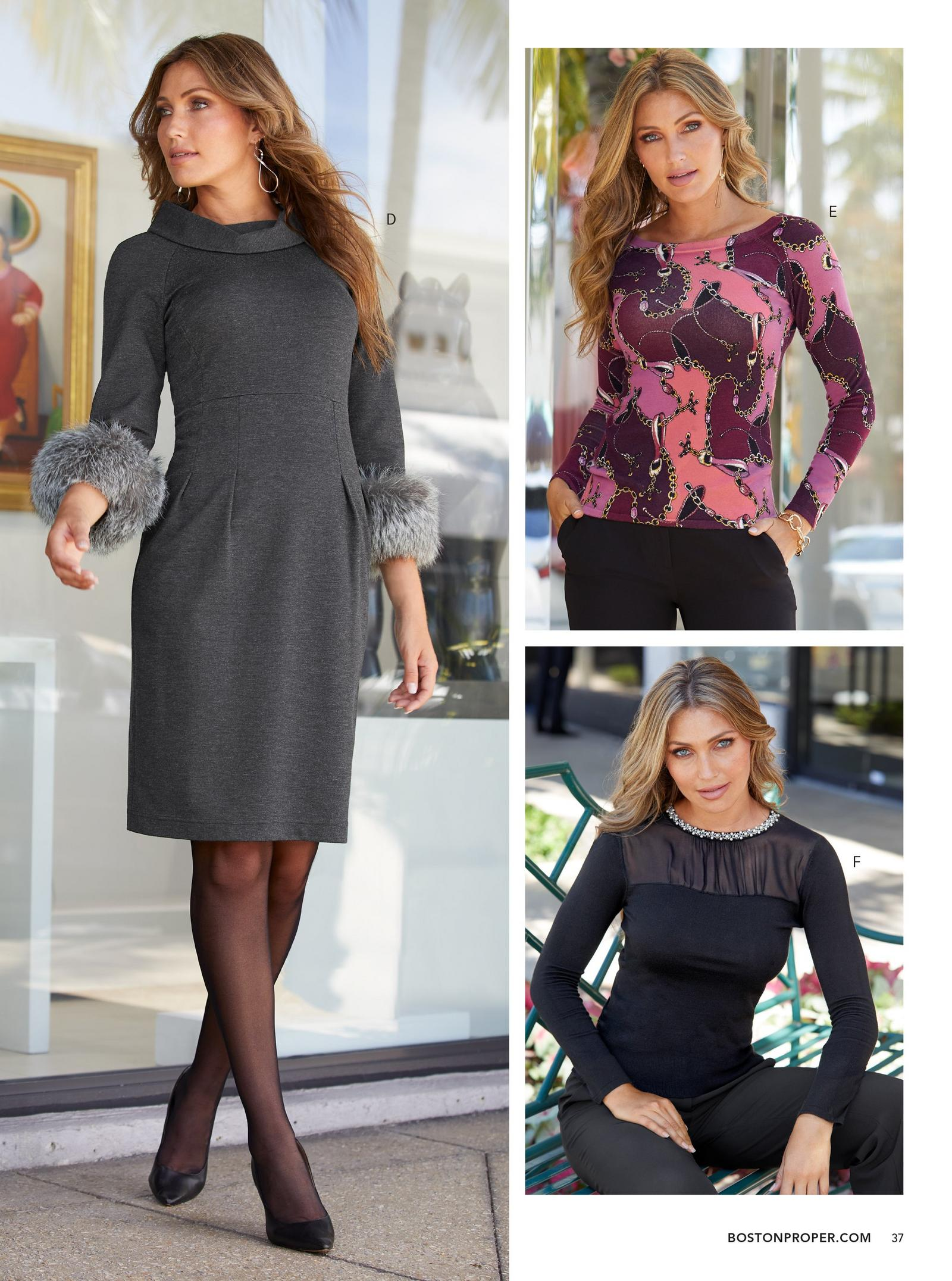 left model: faux fur cuff dress in gray. top right: pink and purple status print sweater. bottom right: black pearl trim mesh sweater.