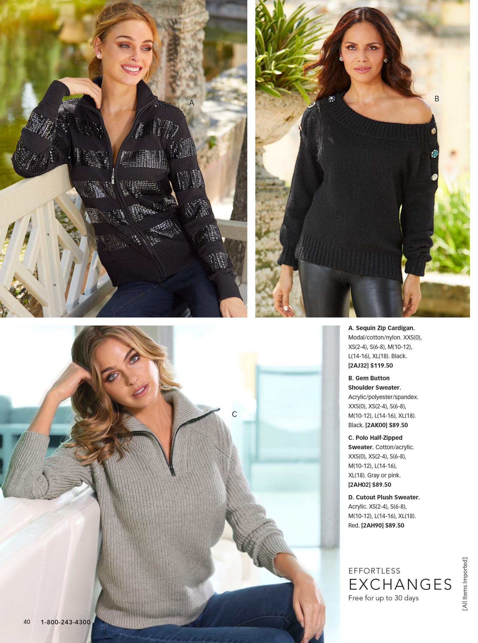 top left: sequin zip cardigan in black. top right: black sweater with gem buttons lining the arms. bottom: grey polo half-zip sweater.