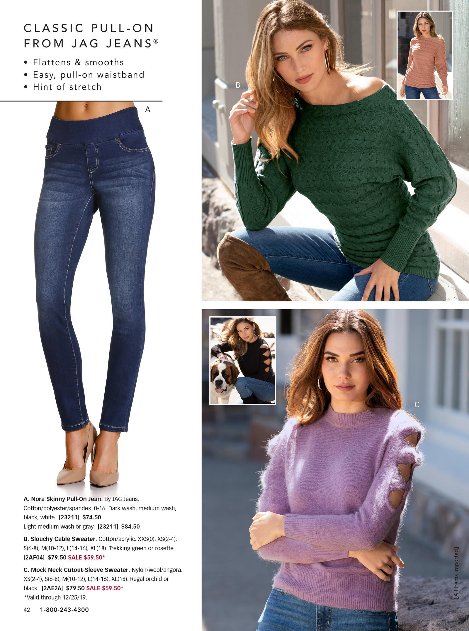 left silo of the classic pull-on jeans. top right: green cable sweater with silo in pink. bottom right: purple mock neck cutout-sleeve sweater.