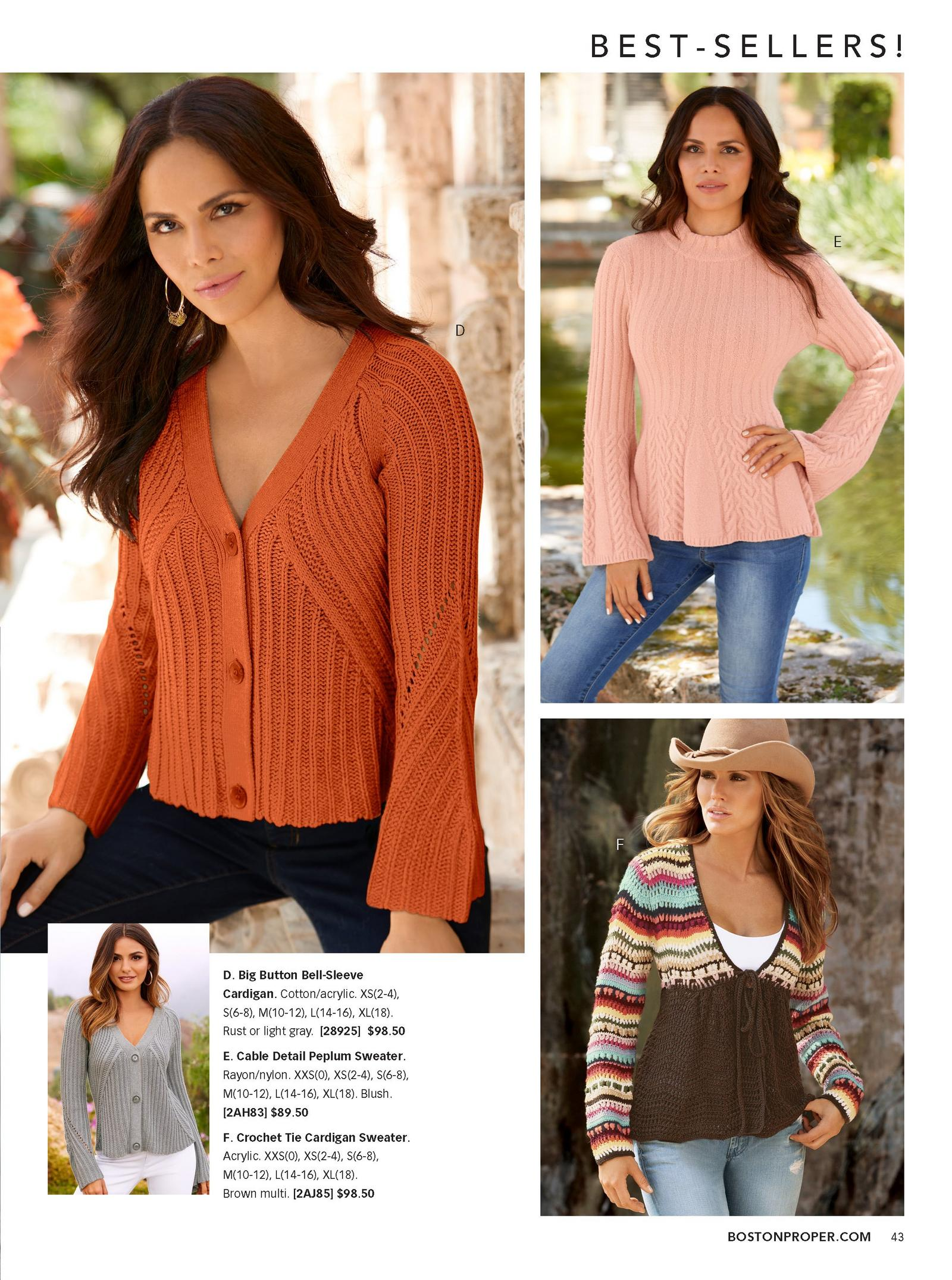 left: model wearing rust colored bell-sleeve cardigan. top right: pink peplum sweater over jeans. bottom right: crochet tie cardigan sweater over ripped jeans.