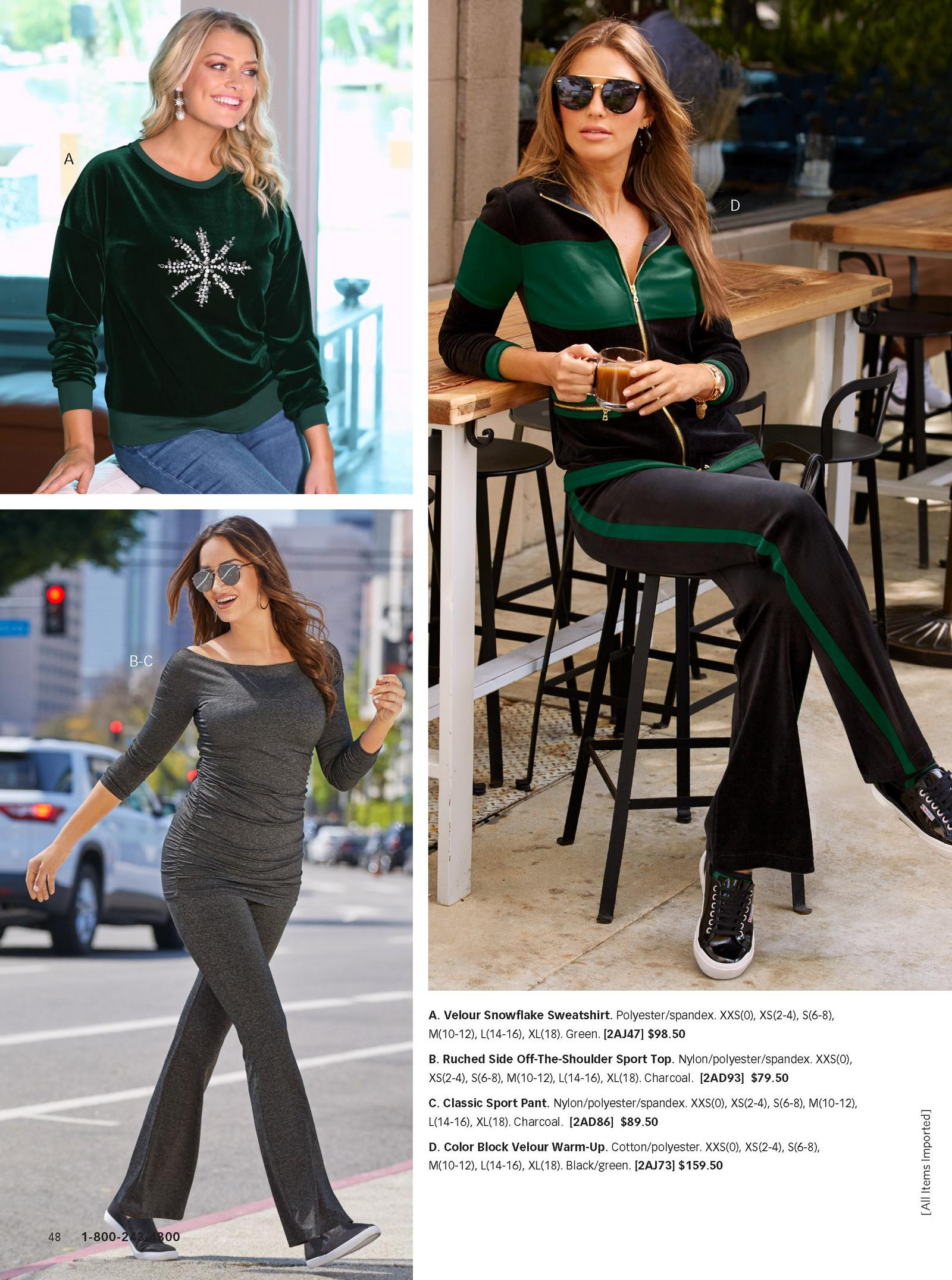 left model wearing ruched off the shoulder sport top with classic sport pant in grey. right model wearing black and green warm-up.