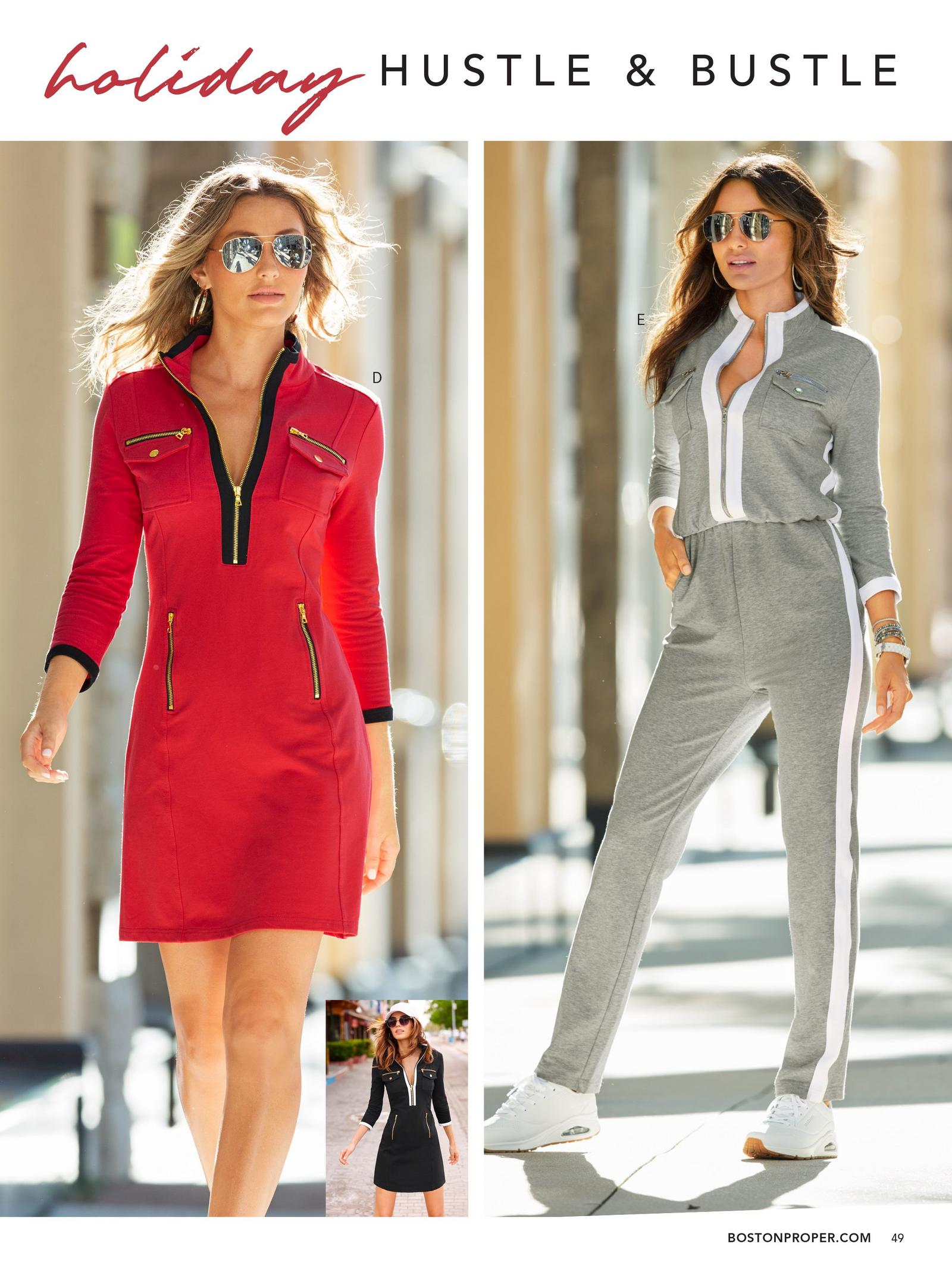 left model wearing red chic zip sport dress. right model wearing three-quarter sleeve chic-zip jumpsuit in grey with white piping.