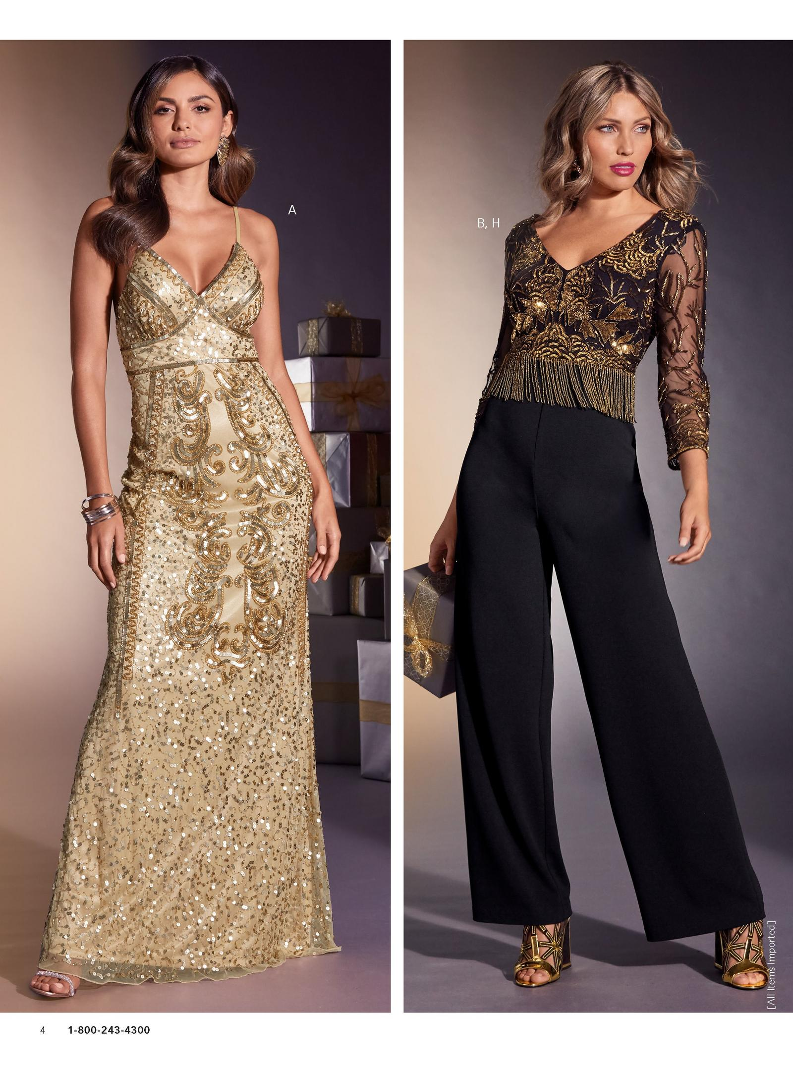 left model wearing gold embellished maxi dress. right model wearing gold fringe embellished black jumpsuit with black and gold heels.