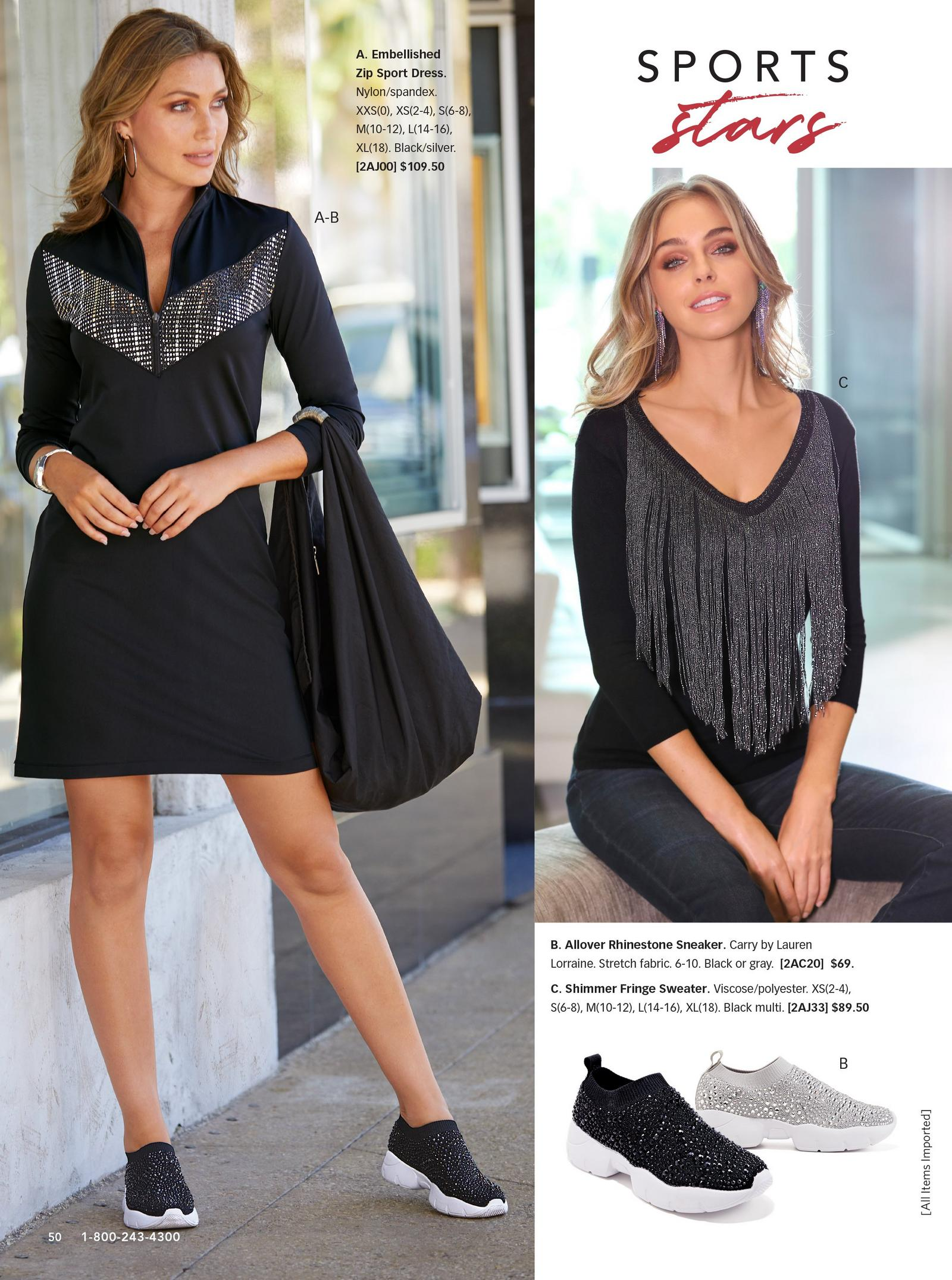 left model wearing embellished zip sport dress in black with black rhinestone sneakers. right model wearing shimmer fringe sweater in black.