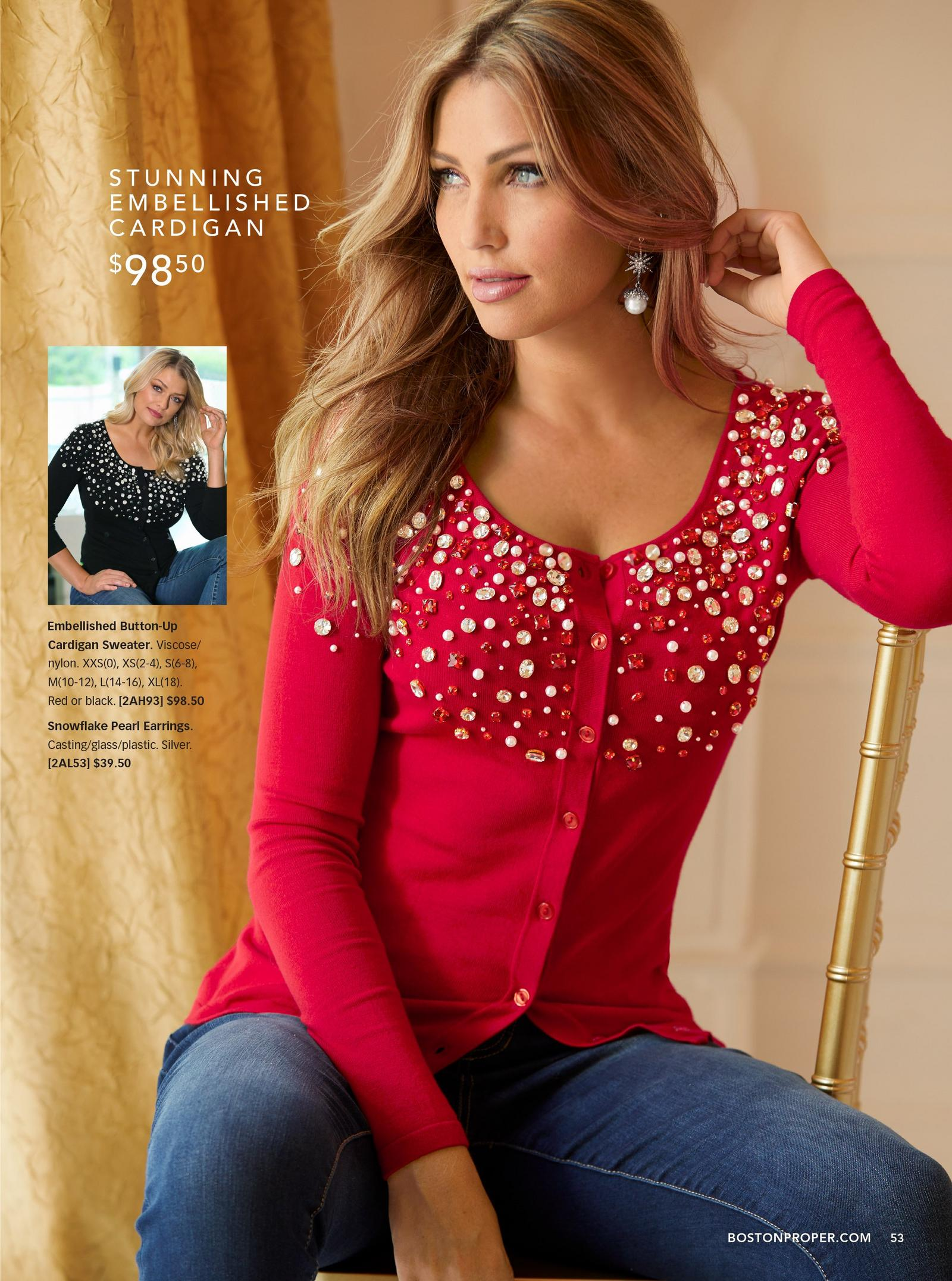 model wearing embellished button -up cardigan sweater in red with jeans
