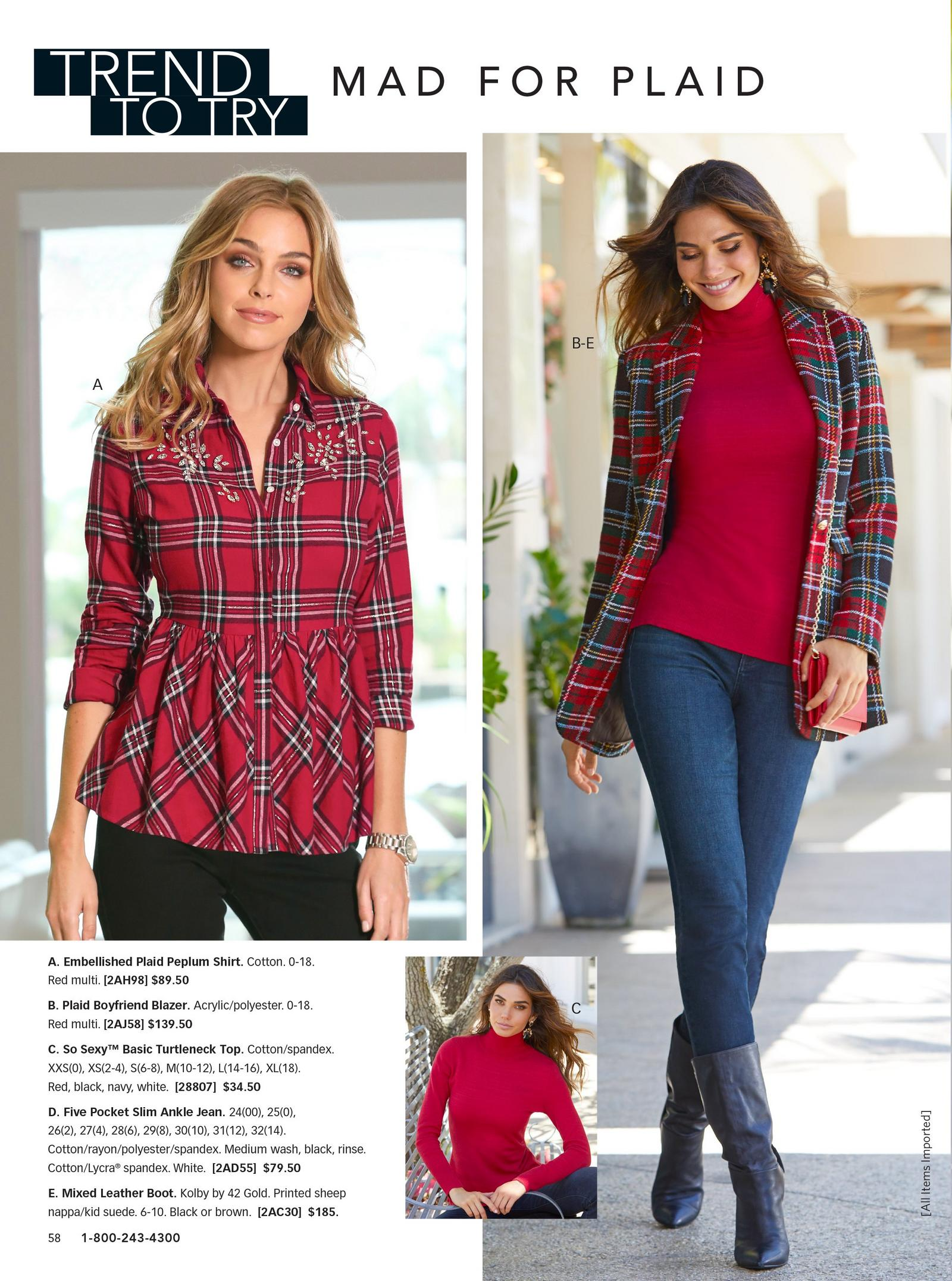 left model: embellished plaid peplum shirt. right model: plaid boyfriend blazer over red turtleneck and jeans with black boots.