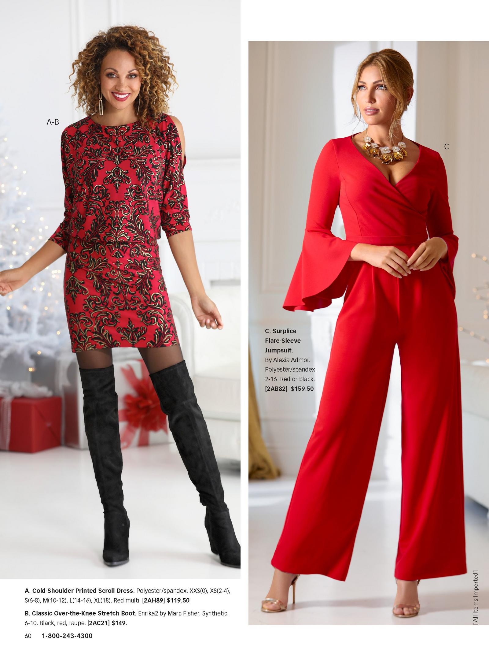 left model: red cold-shoulder printed scroll dress and over-the-knee black boots. right model: red surplice flare-sleeve jumpsuit.