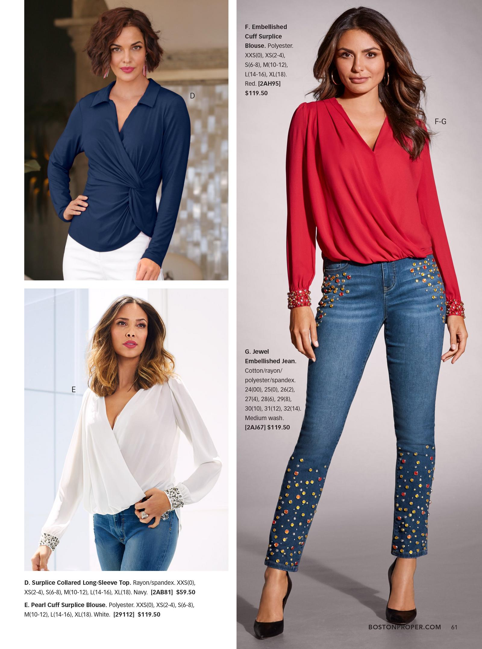 top left: navy surplice top and white pants. bottom left: pearl cuff surplice blouse. right: embellished cuff surplice blouse in red with jewel embellished jeans.
