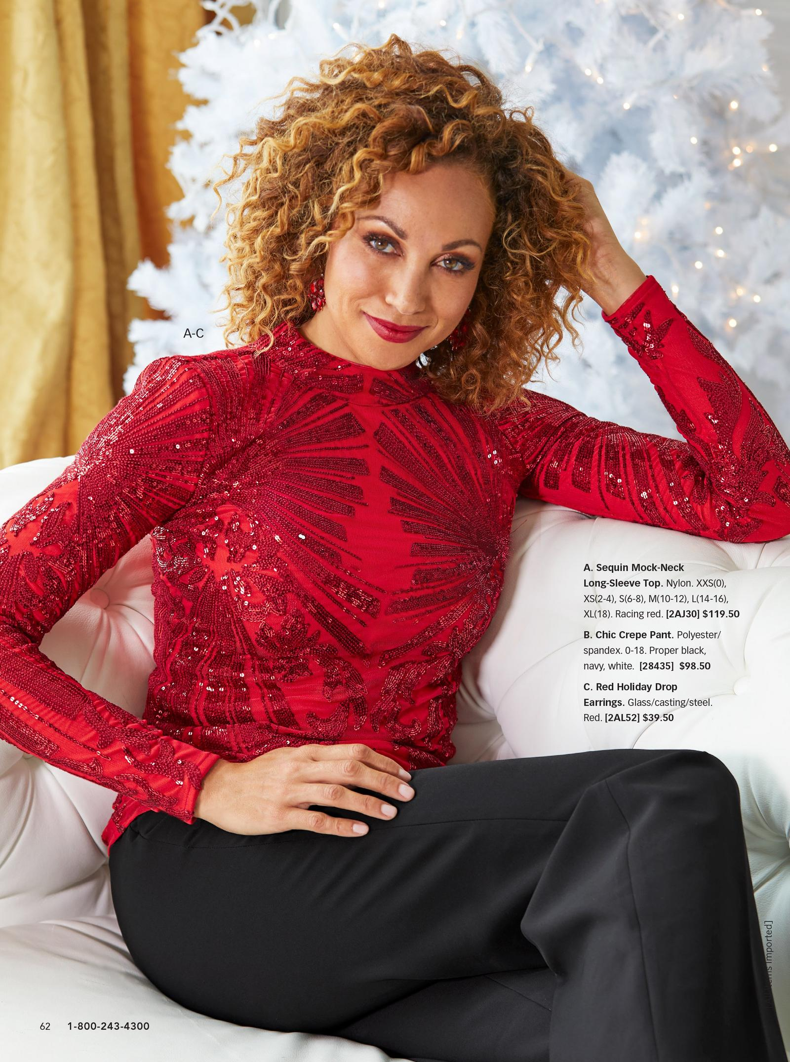 model wearing red sequin mock-neck long-sleeve top with black chic crepe pants