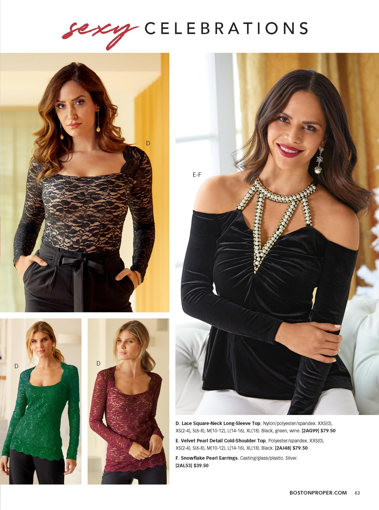 left model wearing black and tan lace top, also shown in green and wine. right model wearing black velvet top with pearl detail.