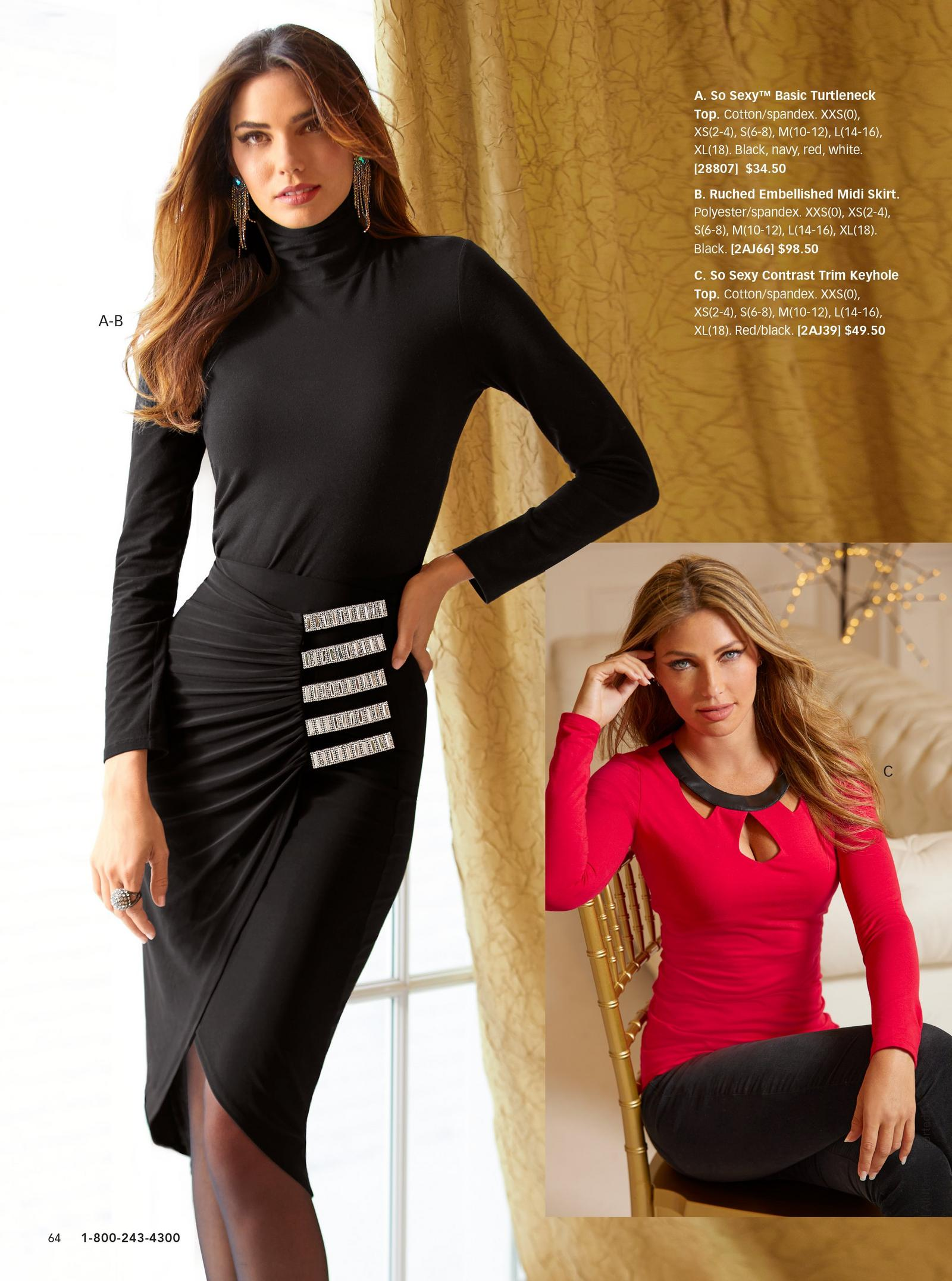left model: black turtleneck and a ruched black skirt with diamond accents. right model: red long sleeved top with cutouts.