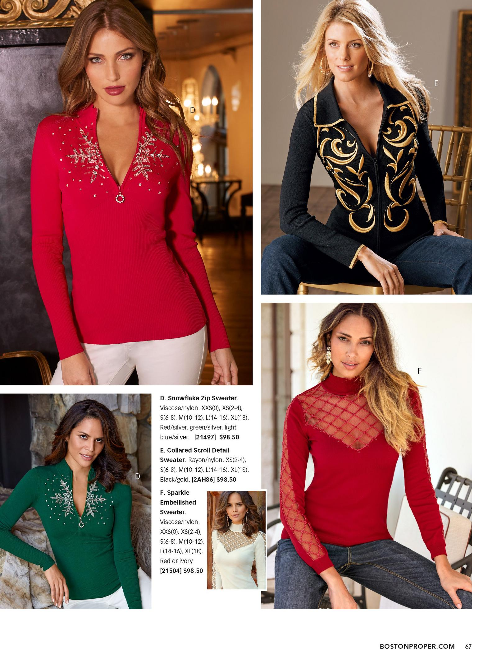 top and bottom left: model wearing quarter zip sweater with jeweled snowflake design in red and green. top right: model wearing zip up black and gold sweater with scroll design. bottom right: model wearing red long sleeve illusion top.