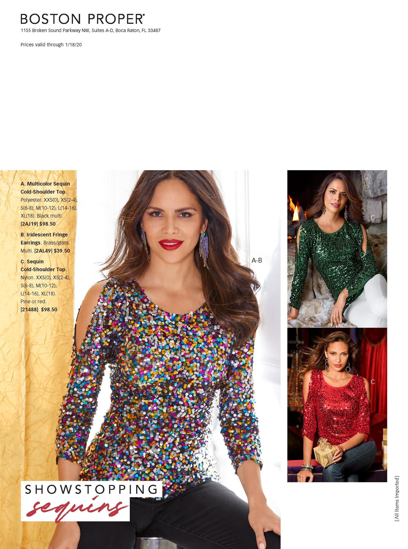 models wearing sparkly cold-shoulder tops in red, green, and multi