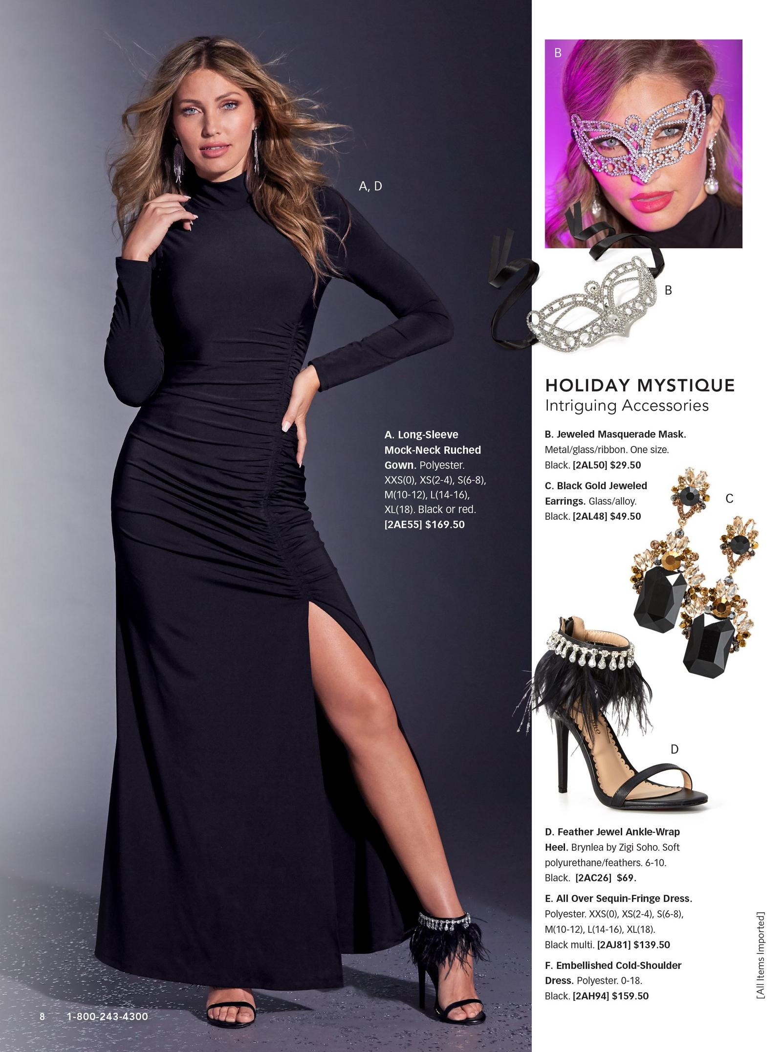 model wearing black long-sleeve mock-neck ruched gown with feather jewel ankle-wrap heel. right side includes silos of black and gold earrings, feather ankle-wrap heel in black and a jeweled masquerade mask.