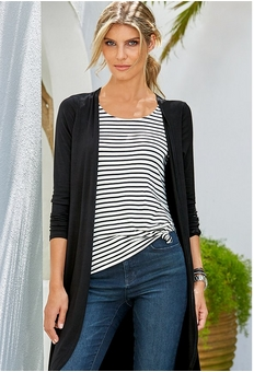 left model wearing the chic zip jacket in black and white over a white tank top, a white belt, and jeans. right model wearing a black and white chic sport maxi dress.
