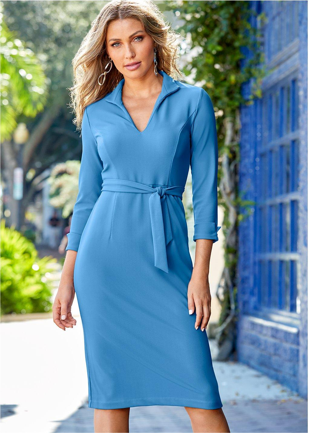 model wearing a peri blue tie-waist beyond travel dress.