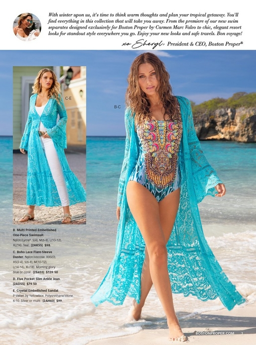 left model wearing light blue boho lace duster over a white tank top, white jeans, a turquoise jewel belt, and crystal embellished sandals. right model wearing same duster over a printed embellished one-piece swimsuit.