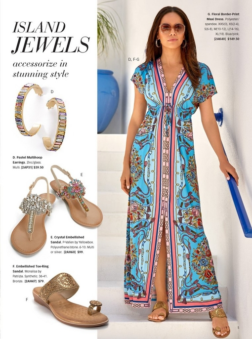 model wearing a floral border print maxi dress in pink and blue with glitzy sunglasses and toe-ring gold sandals. to the left, silos of: pastel multihoop earrings, crystal embellished sandals, and embellished toe-ring sandal.
