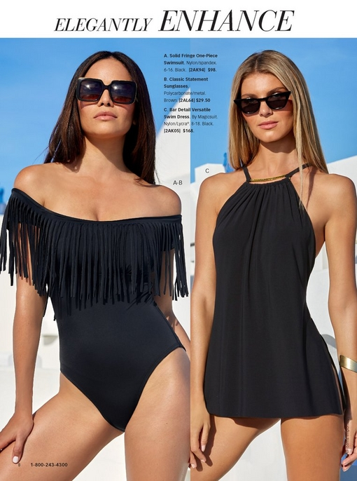 left model wearing a black off-the shoulder one-piece swimsuit with fringe detail and tortoiseshell sunglasses. right model wearing black swim dress with gold bar detail and cat eye sunglasses.