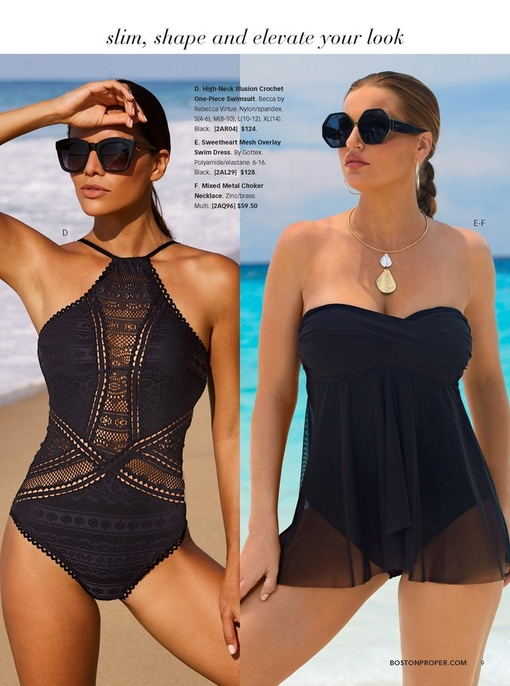 left model wearing a high-neck crochet one-piece swimsuit in black with square sunglasses. right model wearing a sweetheart mesh overlay swim dress in black, statement sunglasses, and mixed metal choker necklace.