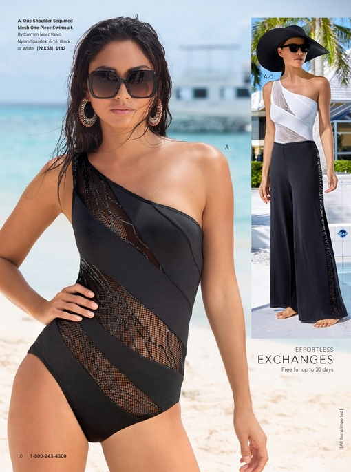 left model wearing a one-shoulder black one-piece swimsuit with mesh inlay and square sunglasses. right model wearing same swimsuit in white with a black floppy hat and black cover-up pants with a sequin side stripe.
