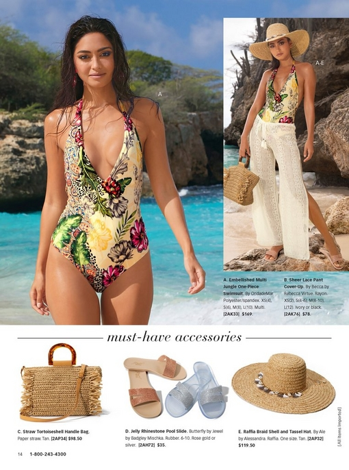 left model wearing a deep plunge one-piece suit with a jungle print. right model showing same suit with raffia hat, straw bag, white lace pants, and jelly pool slides. at the bottom, there are silos of accessories: straw bag, jelly pool slide in silver or rose gold, and raffia hat.