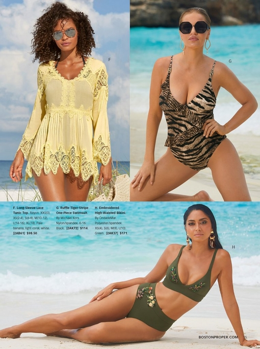 left model wearing a yellow lace tunic top over a black bathing suit with mirrored aviator sunglasses. right model wearing a ruffle tiger-stripe one-piece swimsuit. bottom model wearing an olive green bikini with floral embroidery.