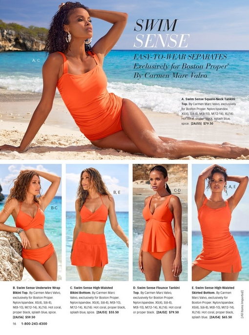 five images of model son the beach showing the different bikinis, swim skirts, and tankinis in coral for the exclusive swim collection.