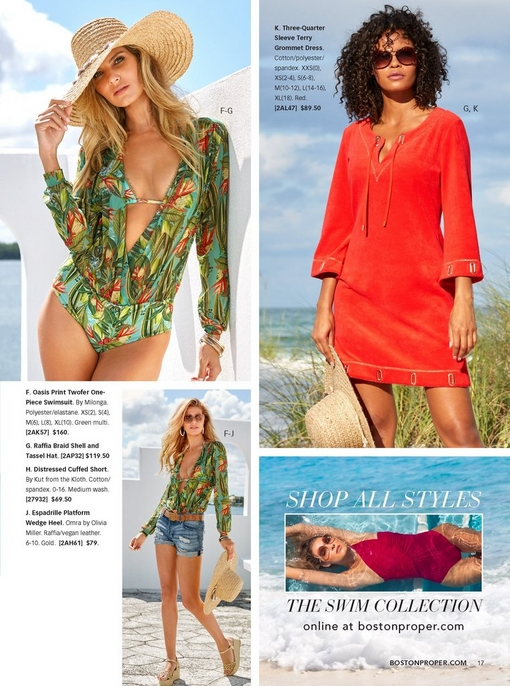 left model showing two ways to wear the oasis print long-sleeve swimsuit--alone with a hat or with ripped denim shorts, a hat, and espadrille wedges. right model wearing the three-quarter sleeve terry grommet dress in red while holding a straw hat and wearing tortoise sunglasses.