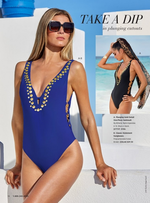 left model wearing the plunging gold detail one-piece swimsuit in blue with tortoise sunglasses. to the right: same swimsuit in black.