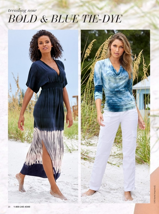 left model wearing blue and white dipped tie-dye maxi dress. right model wearing a blue and white tie-dye slouchy top with white cargo pants.