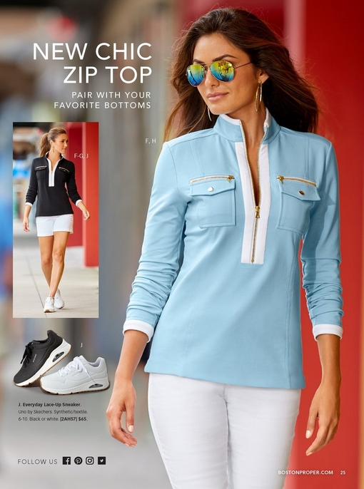 left model is wearing the chic zip pullover in black and white with white shorts and white sneakers. right model wearing the same top in blue and white with white pants and mirrored aviator sunglasses. Silo of sneakers in black and white in bottom left corner.
